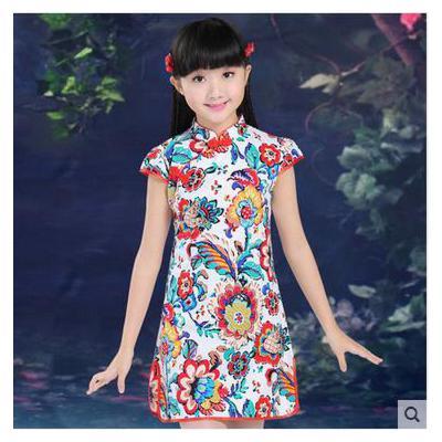 女童短袖旗袍 儿童纯棉复古公主裙 小孩子女孩大童唐装表演服儿童裙子