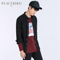 太平鸟男装 男士黑色长袖衬衫破洞潮流衬衫男韩版修身潮B2CA71164