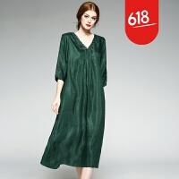 大码民族风连衣裙胖mm200斤V领五分袖中长款重磅铜氨丝 打底裙GH29