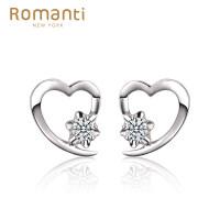 罗曼蒂珠宝白18K金钻石耳钉女款时尚雪花显钻钻石耳饰耳坠心语需定制
