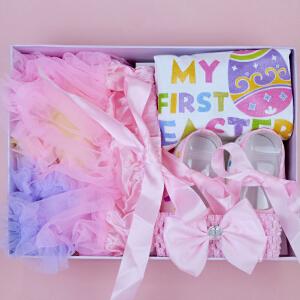 Yinbeler婴幼童裙子婴儿满月百天周岁礼服纱裙蓬蓬裙宝宝公主裙彩虹裙-礼盒-彩蛋