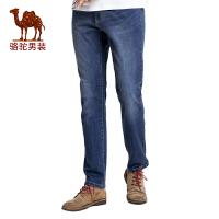 骆驼男装 新款时尚男士商务休闲牛仔裤拉链中腰长裤子男