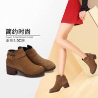 camel/骆驼女鞋 秋冬新款简约英伦风皮带扣饰 侧拉链时尚高跟短靴女