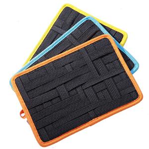 Yinbeler双面弹力收纳板大容量尼龙橡筋材质多功能创意收纳板数码数据线双面收纳板