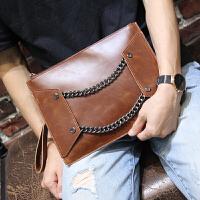 男士手包 韩版男士手包链条潮男包信封手拿包手抓包 铁链文件包 咖啡色