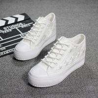 莫戈里夏季白色镂空透气帆布鞋女内增高蕾丝网鞋低帮休闲厚底松糕鞋 白色 现货