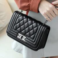 女包新款2018韩版菱格链条包时尚小方包单肩斜挎包手提包包 黑色