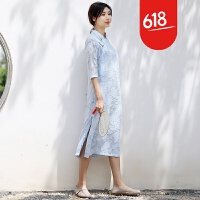 2018新款改良旗袍连衣裙女夏中长款中国风小香风宽松复古文艺长裙GH176 浅蓝色
