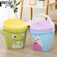 门扉 收纳箱 收纳澡篮桶凳储物凳可坐人玩具收纳桶洗澡凳子桶塑料宝宝小凳