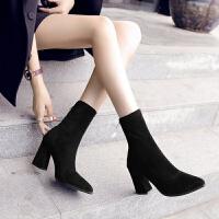 秋冬新款尖头短靴高跟鞋粗跟弹力袜子靴女韩版马丁靴女后拉链 黑色8.5CM