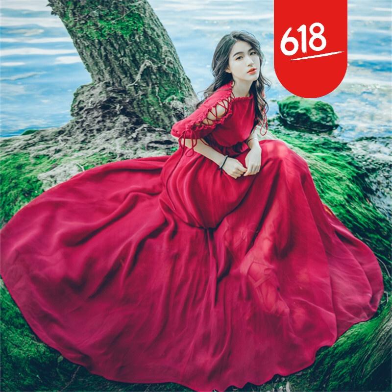 原创夏装新品修身显瘦露肩雪纺连衣裙性感一字领海边度假长裙沙滩裙仙GH04 酒红色 发货周期:一般在付款后2-90天左右发货,具体发货时间请以与客服协商的时间为准