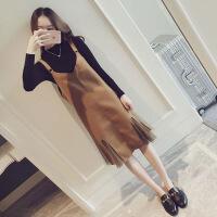 显瘦两件套装秋冬胖mm连衣裙子背带网红大码心机胯宽大腿粗的女生