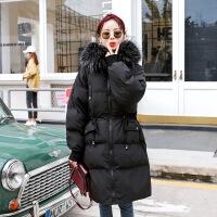 孕妇加厚羽绒服2018新款韩版棉衣棉袄中长款上衣孕妇连帽外套冬装 185黑色 M