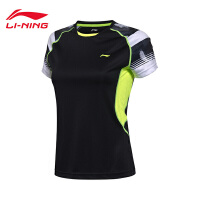 李宁羽毛球比赛服女士短袖速干凉爽羽毛球比赛服短装运动服AAYM014
