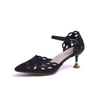 镂空包头凉鞋女2019夏季新款中空一字扣单鞋高跟猫跟性感女士凉鞋