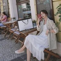 小西装外套女2019秋韩版英伦休闲复古格子时尚小香风上衣 米白色