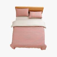 当当优品家纺 全棉日式针织床品 1.5米床 床笠四件套 条纹粉色