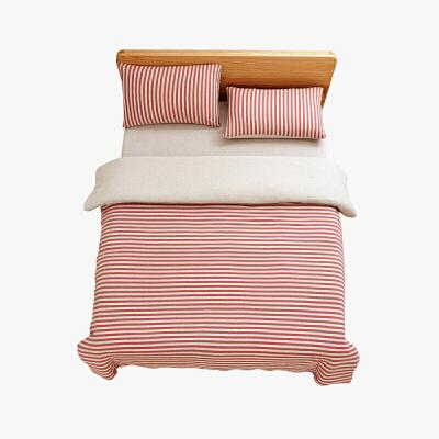当当优品家纺 全棉日式针织床品 1.5米床 床笠四件套 条纹粉色当当自营 MUJI制造商代工