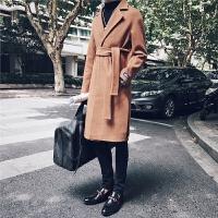 发型师中长款呢大衣男士韩版休闲呢料风衣外套秋冬季男装毛呢大衣