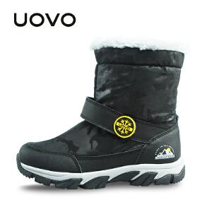 【每满100立减50】 UOVO儿童雪地靴新款女童加绒中大童短靴子冬季公主宝宝棉鞋潮 维希