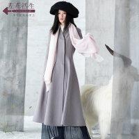 生活在左2018秋冬新款绣花双面呢毛呢外套女装简约长袖中长款开衫
