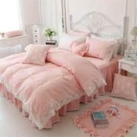 纯棉韩版床上四件套 全棉 公主风蕾丝边床单式床裙婚庆2.0m床双人