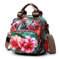 春季新款时尚女包双肩包牛津布手提包小包单肩斜挎包印花多用背包