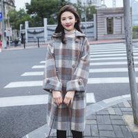 中长款毛呢外套女装秋冬季新款2018流行格子韩版羊毛双面呢子大衣 图片色 XS