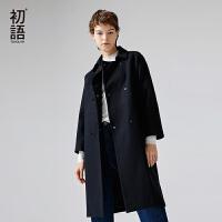 【秒杀价:185.9元】初语冬季新款时尚中性风H型双排扣大衣 中长款修身纯色毛呢外套女