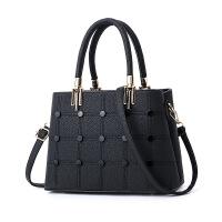 母包包手提包女士韩版新款妈妈斜挎中年个性时尚大气大容量 黑色 丁语手提