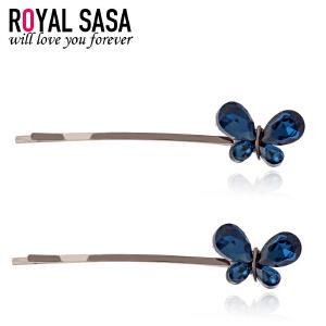 皇家莎莎RoyalSaSa发饰品 韩国头饰人造水晶发夹蝴蝶边夹 对夹发卡一字夹05SP032