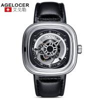 agelocer艾戈勒 瑞士进口品牌手表 大表盘时尚潮男士皮带防水方形运动机械表男表1