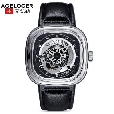 agelocer艾戈勒 瑞士进口品牌手表 大表盘时尚潮男士皮带防水方形运动机械表男表1支持七天无理由退换货,零风险购