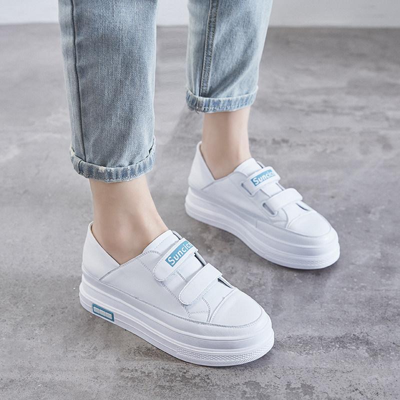 小白鞋女内增高2019春季新款百搭松糕厚底魔术贴休闲板鞋后跟可踩