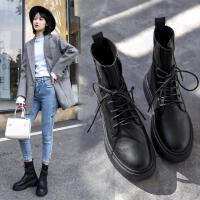 马丁靴女针织靴2019秋季新款英伦风机车靴百搭系带粗跟厚底短靴子 黑色 针织款
