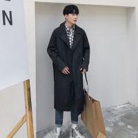 秋季过膝风衣男潮流中长款韩版修身大衣英伦时尚休闲披风外套帅气