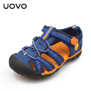 UOVO包头男童凉鞋夏新款儿童沙滩鞋夏季男童鞋韩版潮镂空童鞋 叶子