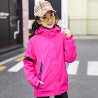 女童户外冲锋衣冬装儿童三合一套装秋冬外套抓绒小女孩