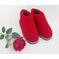 色毛线棉鞋拖鞋成品手工编织新款冬季保暖居家底男女老年鞋 红色21 纯色