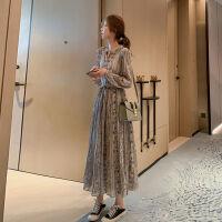 长袖连衣裙2019秋季女装法式复古碎花雪纺衬衫裙气质百褶长裙 图片色