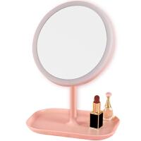 led化妆镜 化妆镜带灯台式led灯网红折叠镜子宿舍女便携桌面梳妆美妆镜学生