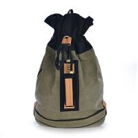 韩版新款潮男女包包单肩双肩背包水桶包旅行包帆布包学生书包 军绿色现货