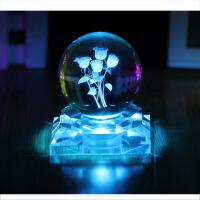 水晶球玫瑰发光生日礼物浪漫情人节礼品男生送女朋友同学闺蜜
