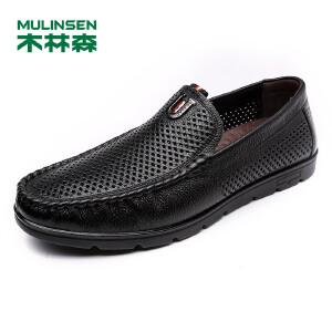 木林森男鞋 春季新款舒适透气打孔鞋子商务休闲鞋05177901