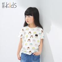 初语童装女童T恤夏装新款短袖休闲卡通动漫上衣儿童T恤短袖女T6201310182