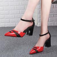 2019春夏季女士凉鞋高跟鞋尖头女鞋红色脚腕绑带包头粗跟鞋子