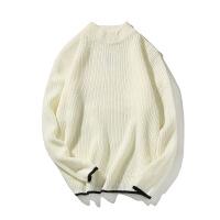 秋季毛衣男生针织衫假两件韩版潮流外穿半高领外套chic韩风情侣装 白色 M