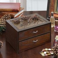 创意复古木质桌面遥控器收纳盒梳妆台珠宝盒首饰盒储物盒
