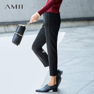 Amii[极简主义]立体拼贴插袋休闲九分裤秋新款宽松直筒裤