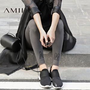 Amii极简百搭修身显瘦打底裤女外穿2018春款棉字母印花长裤小脚裤
